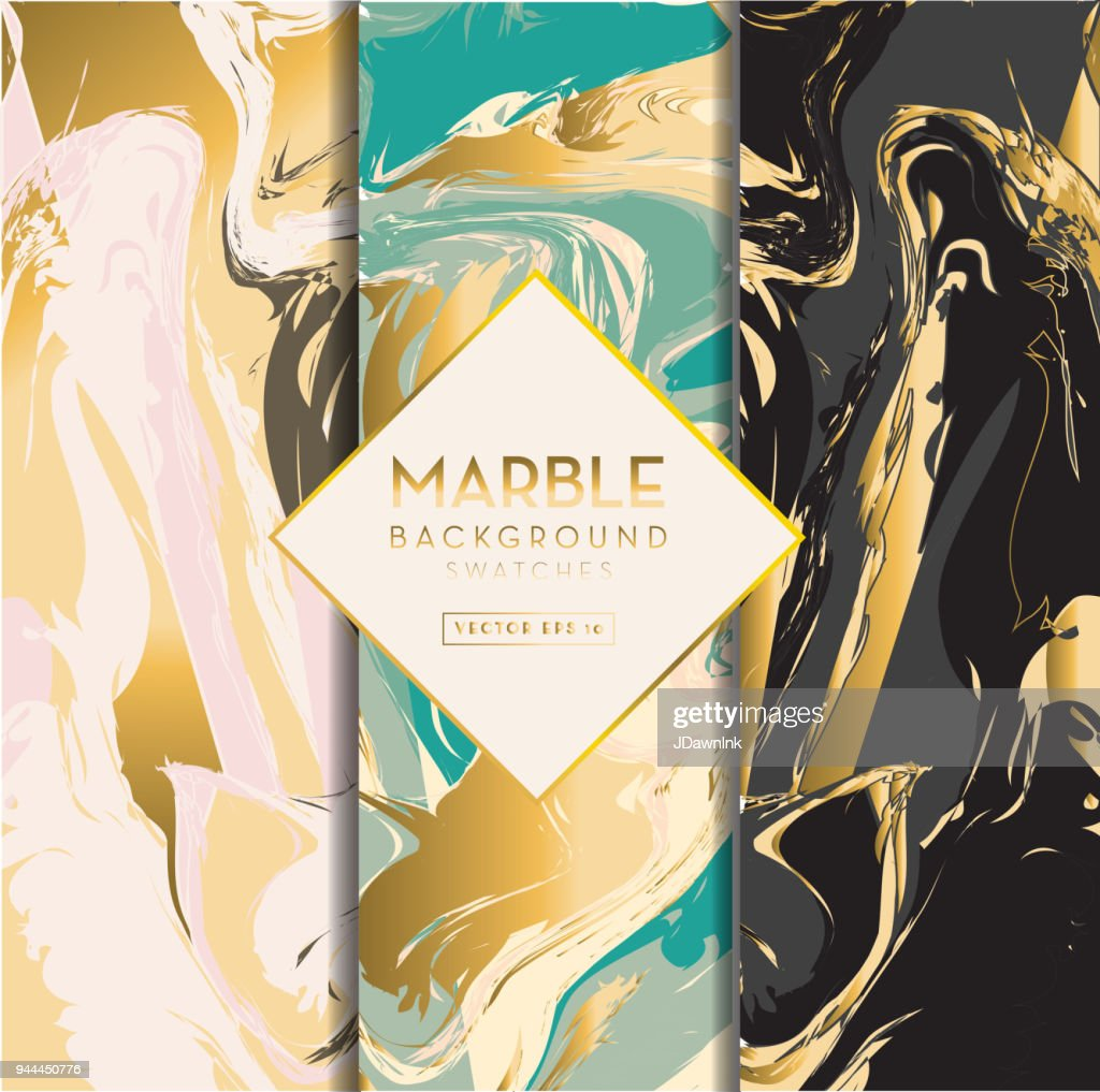Set of three marble background swatches : stock illustration