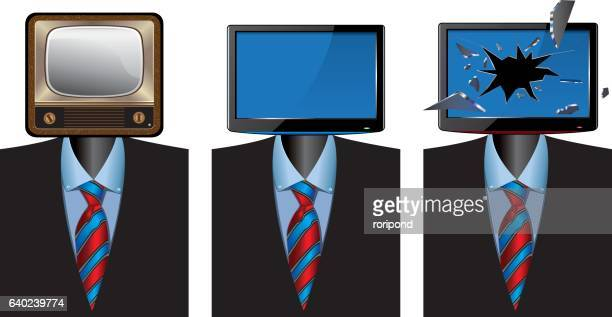 set of three monitors as heads - ultra high definition television stock illustrations