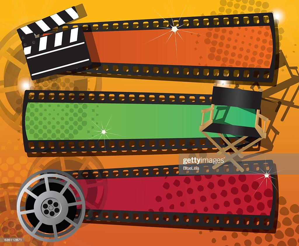 Set of three movie banners, vector