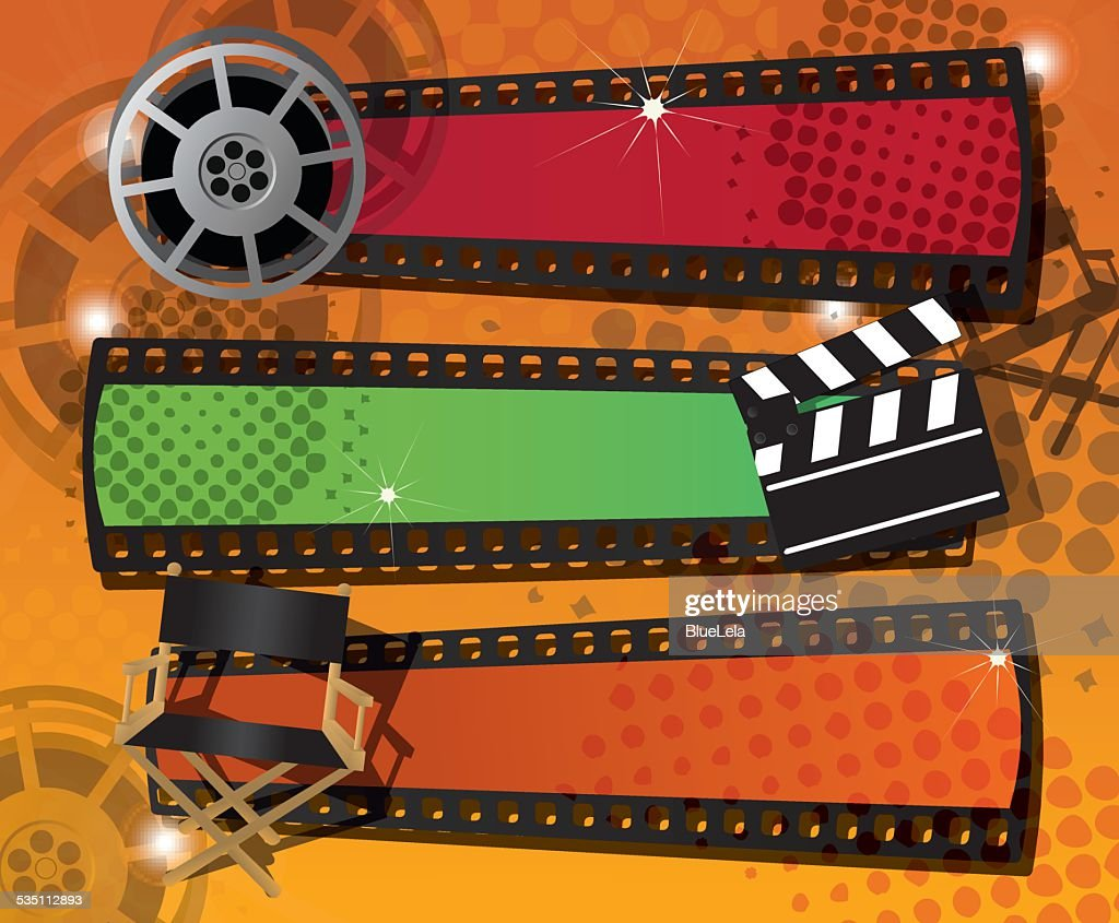 Set of three movie banners with place for text, vector