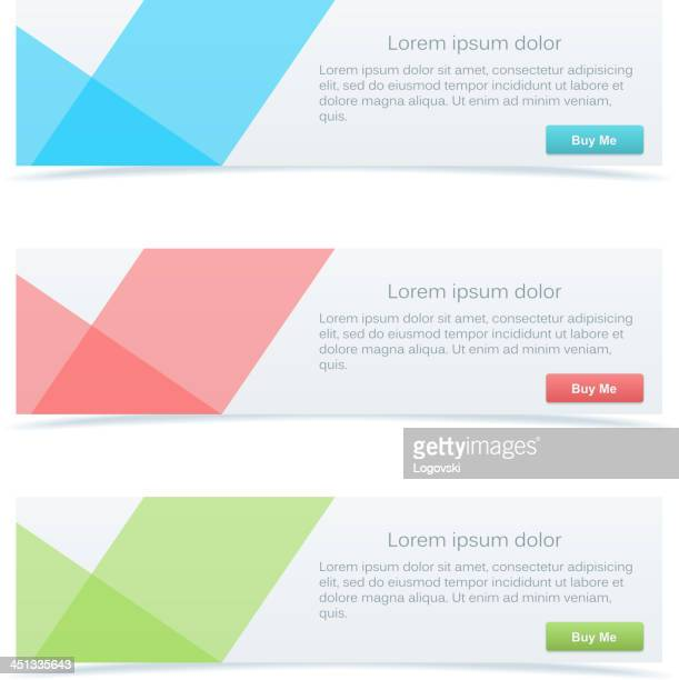 Set of three pastel-colored abstract banners