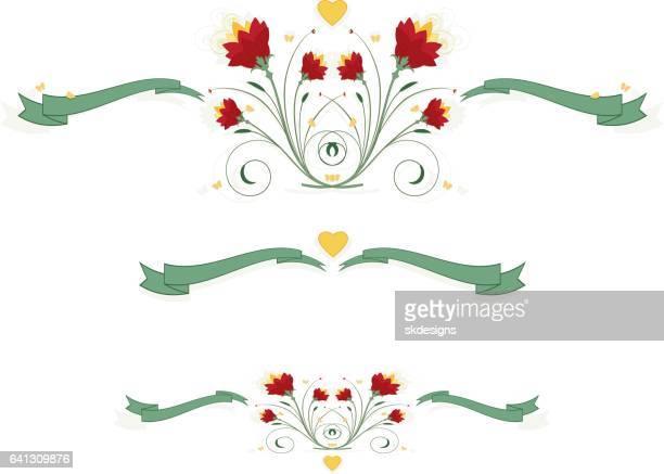 3 赤の花柄、蝶、ハートとリボンのセット