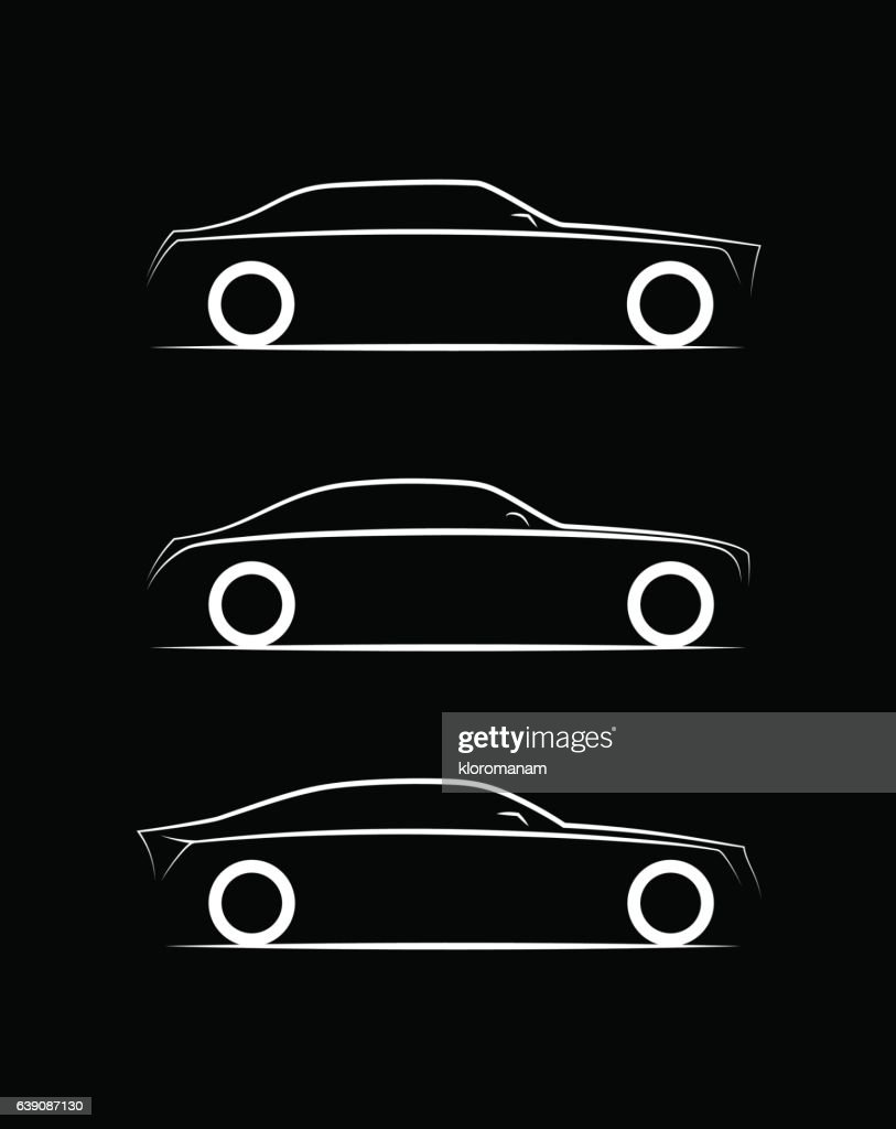 set of three silhouette luxury business car on black background