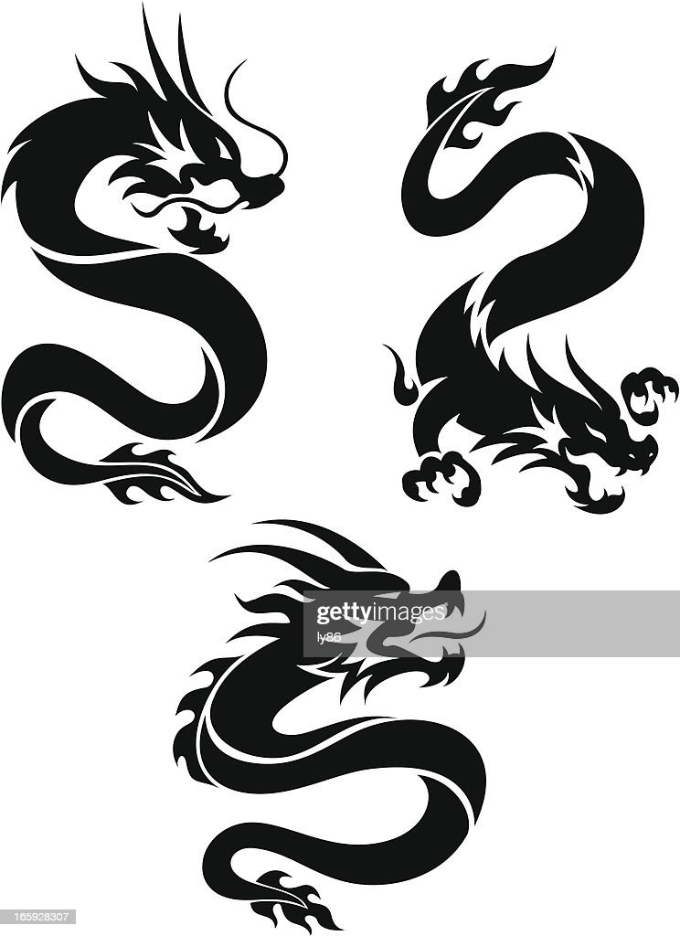 Set of three silhouette tattoo style Chinese dragons