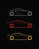 set of three stylized silhouette sports, business luxury car coupe