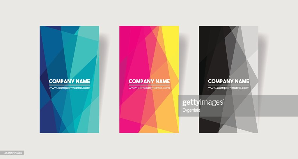 Set of three vertical abstract mosaic business cards.
