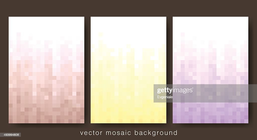 Set of three vertical light mosaic music party background.