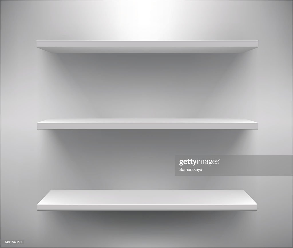 Set of three white empty shelves : stock illustration