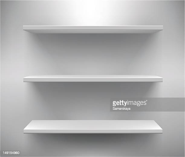 set of three white empty shelves - no people stock illustrations
