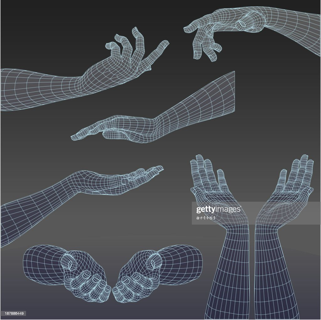 Set of three-dimensional hands : stock illustration