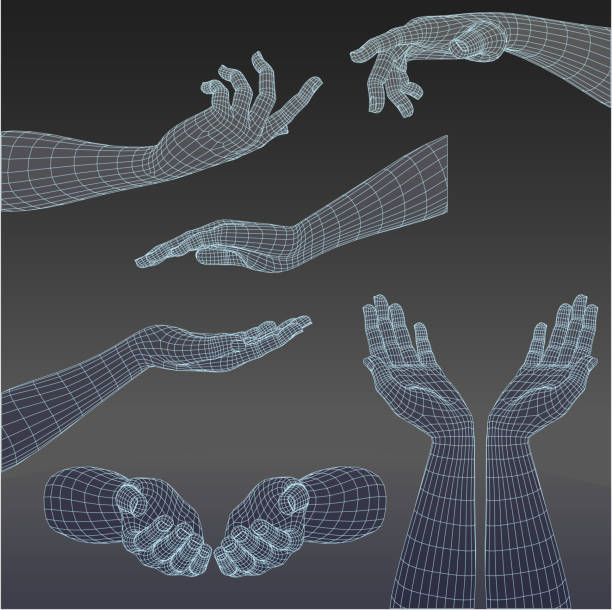 set of three-dimensional hands - human body part stock illustrations