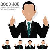 Set of thumbsup businessman on transparent background