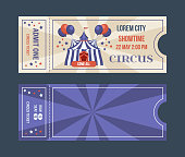 Set of tickets for circus performances, events, show performances