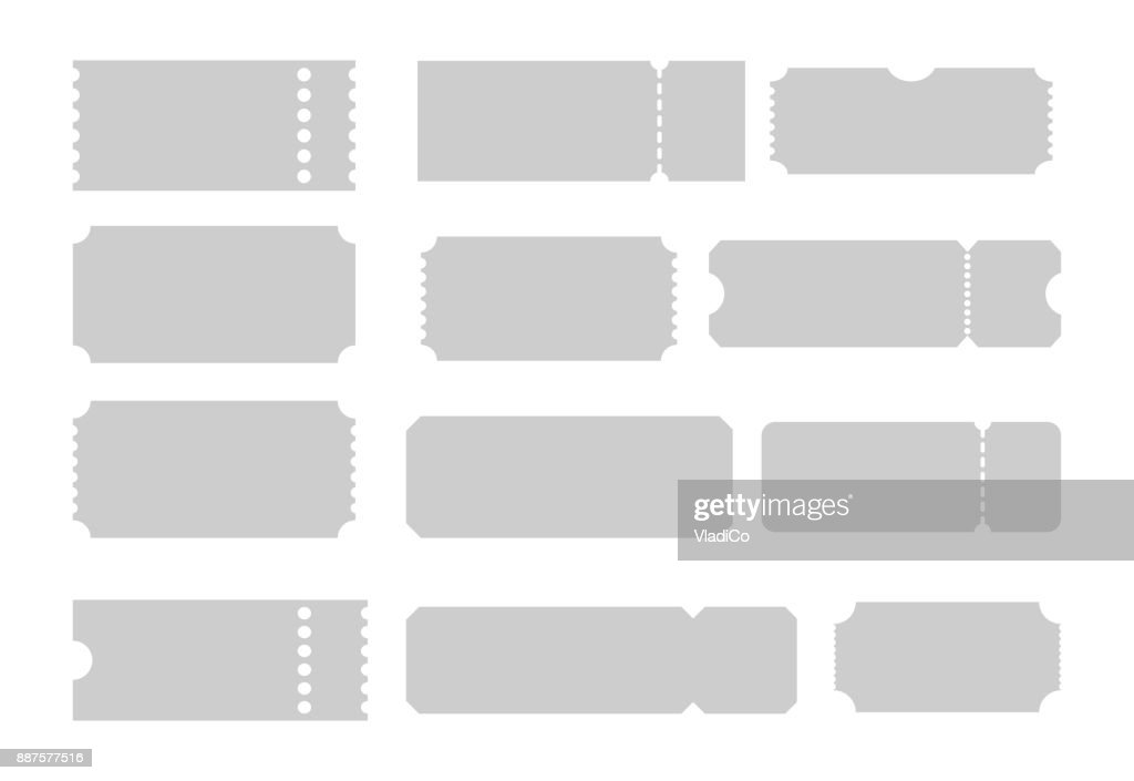 Set of Tickets of different forms. Shapes of tickets. Ticket templates