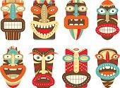 Set of tiki tribal mask