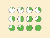 Set of timer vector, flat design