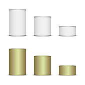 Set of Tins for your design and icon. white color. easy to change any color