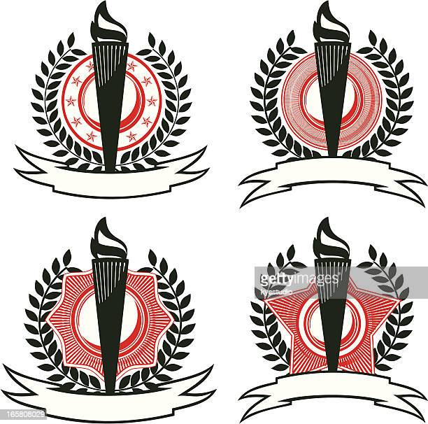 set of . torch emblem - classical theater stock illustrations, clip art, cartoons, & icons