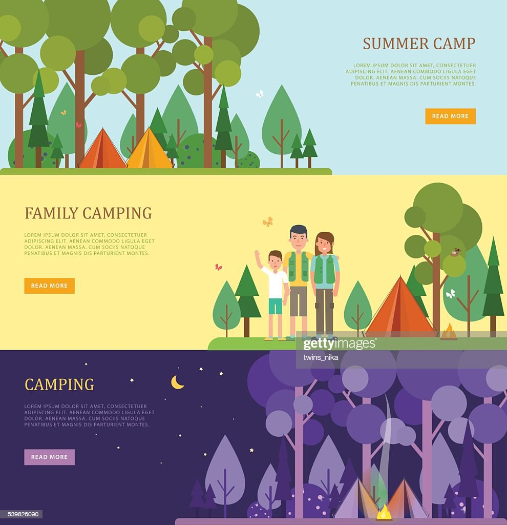 Set of tourist banners for summer and family camping.