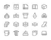 Set of Towels and Napkins Line Icons. Toilet Rolls, Holder, Hand Dryer and more.
