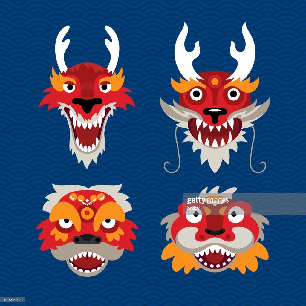 Set of Traditional Chinese Celebration Symbols – Dragon and Lion