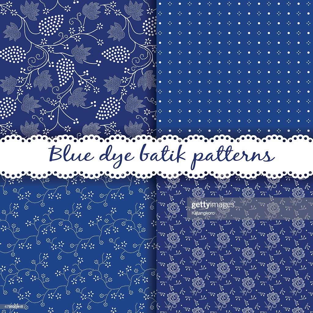 Set of traditional Hungarian blue dye batik patterns