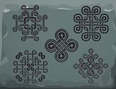 Set of traditional Stone Celtic hand drawn ornament