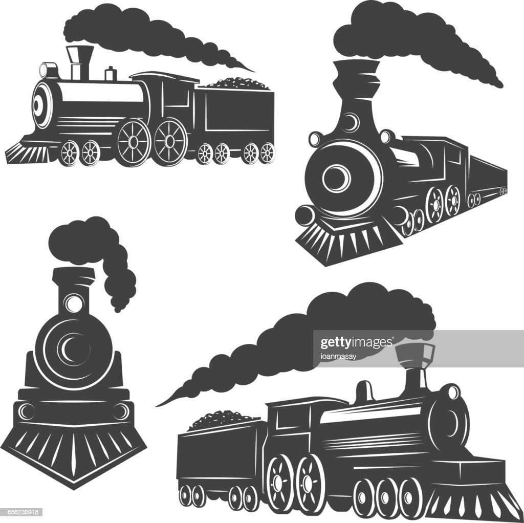 Set of trains icons isolated on white background. Design elements for logo, label, emblem, sign, brand mark.