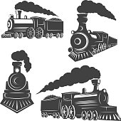 Set of trains icons isolated on white background. Design elements for logo, label, emblem, sign, brand mark.