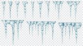 Set of translucent icicles