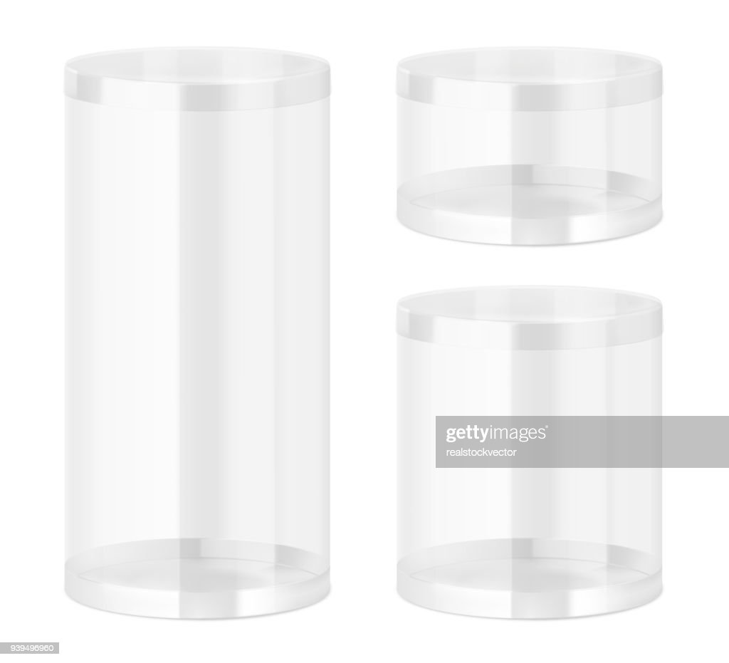 Set of translucent plastic jar with different proportions.