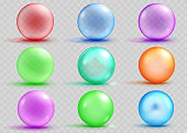 Set of transparent and opaque colored spheres with shadows