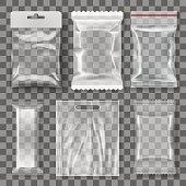 Set Of Transparent Empty Plastic Packaging