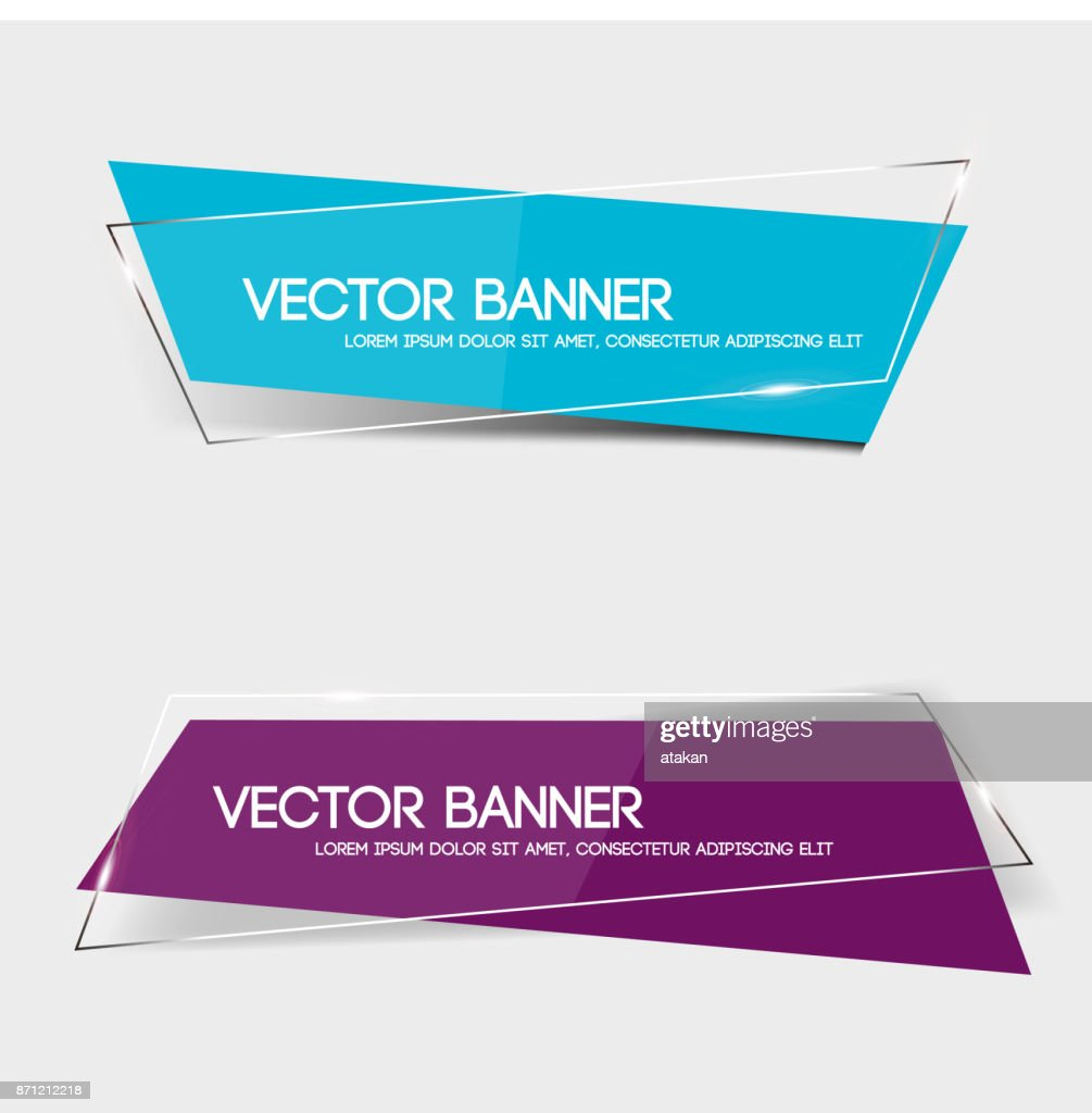 Set of transparent geometric vector banners