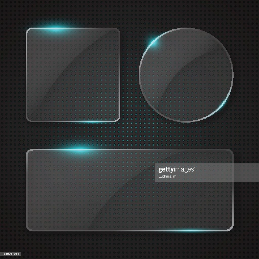 Set of transparent glass banners with glowing lights