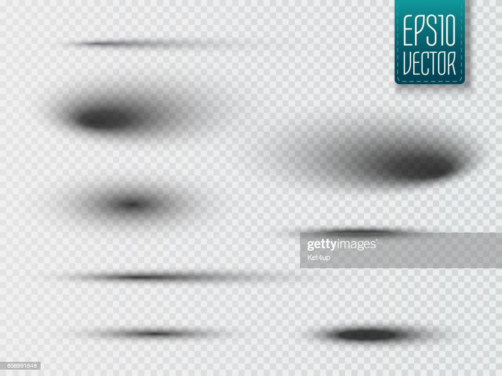 Set of transparent oval shadow with soft edges isolated. Vector