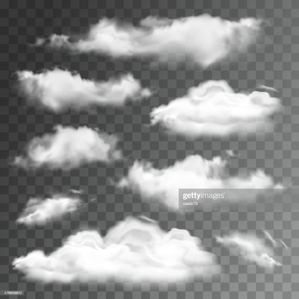 Set of transparent realistic clouds. Vector illustration