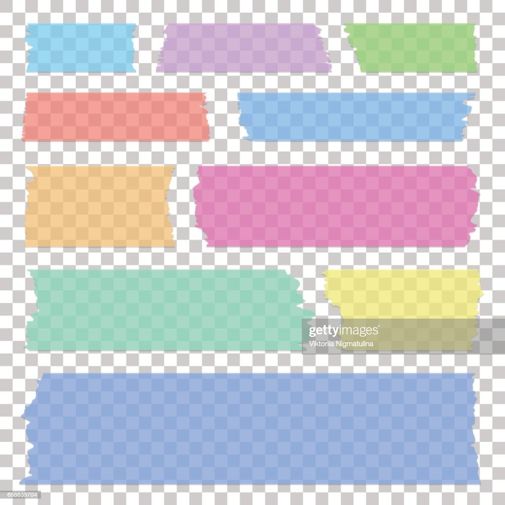 Set of transparent white sticky banners, realistic grey tape pieces, vector illustration.