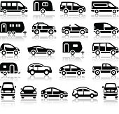 Set of transport black icons