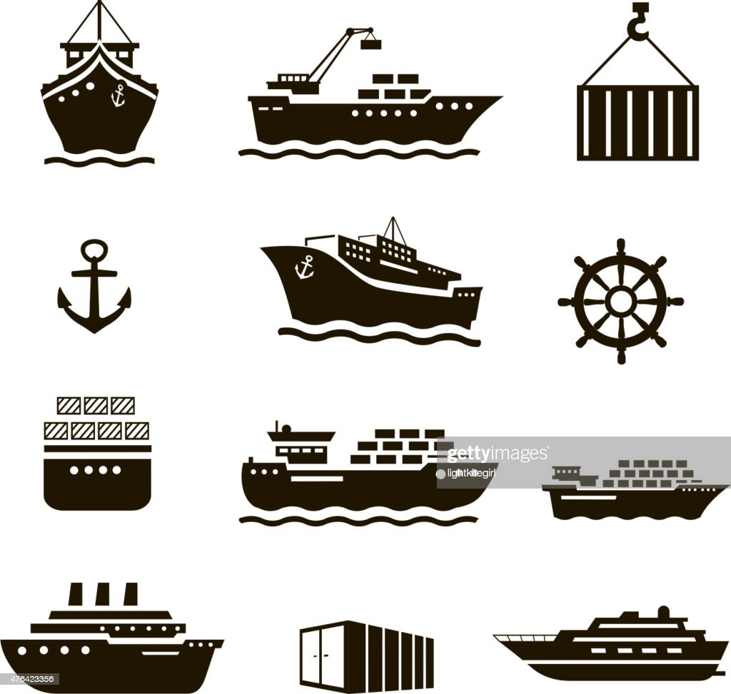 Set of transportation and shipping icons. Container, tanker, cargo