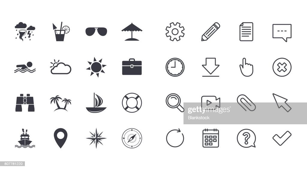 Set of Travel and Cruise icons.