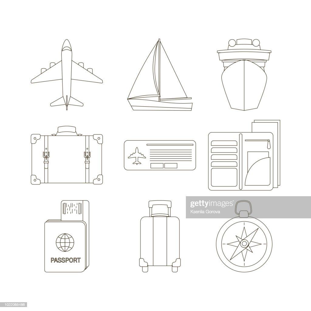 Set of travel icons in line stile. Vector illustration.