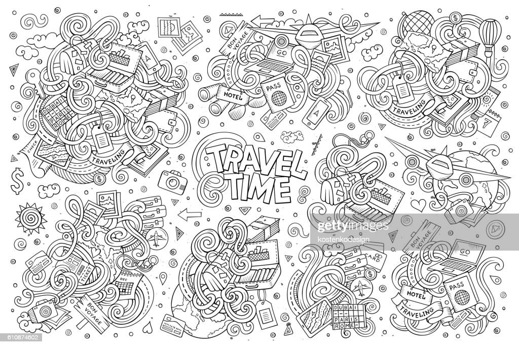 Set of travel planning objects and symbols