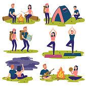 Set of travelers, tourists traveling. Yoga, hiking