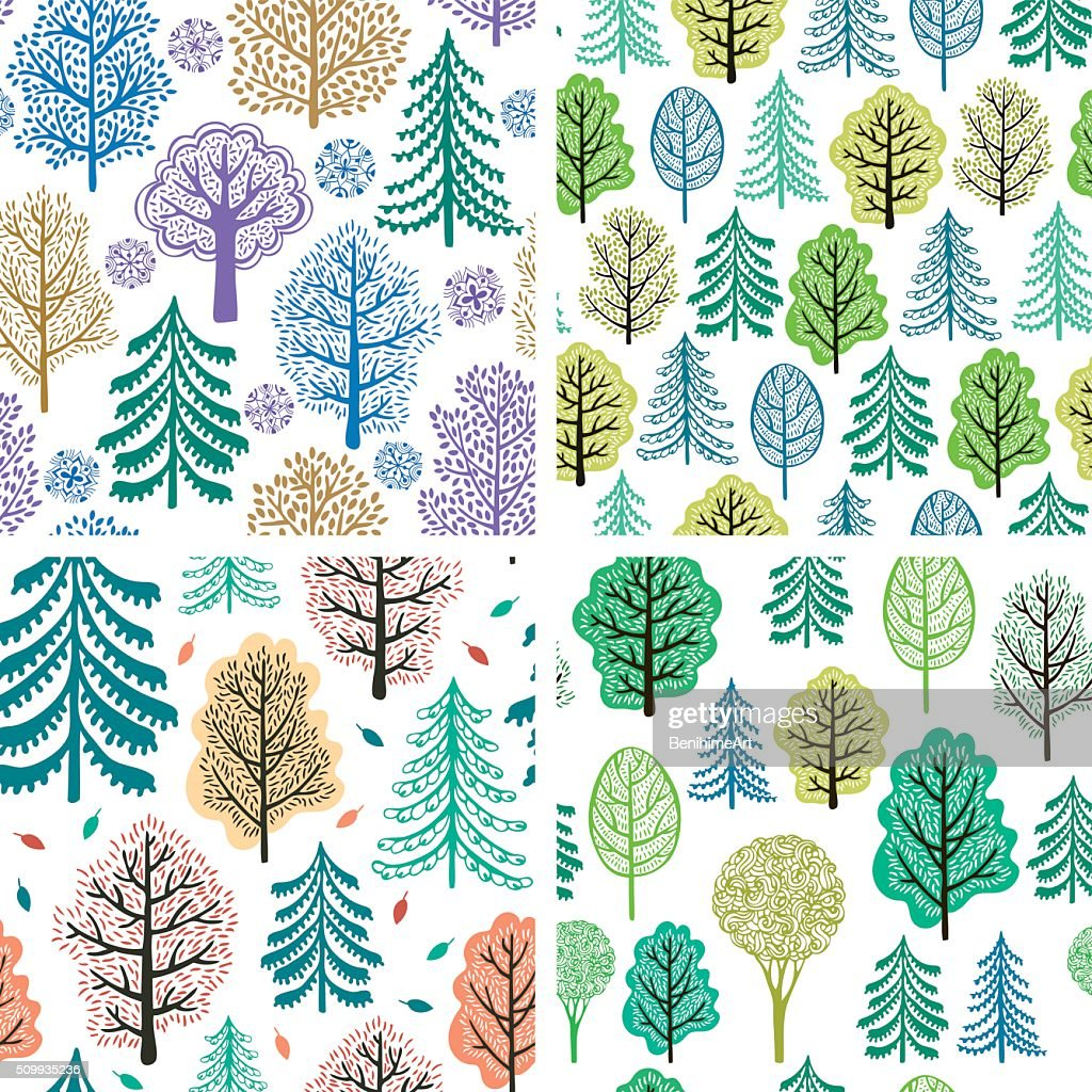 Set of trees seamless patterns