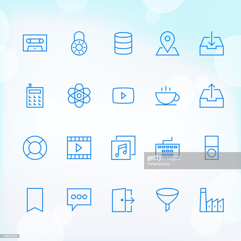 Set of trendy blue icons for web and mobile use