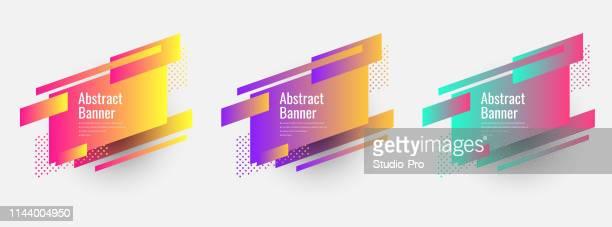トレンディなフラットジオメトリックベクトルバナーのセット - 平面形点のイラスト素材/クリップアート素材/マンガ素材/アイコン素材