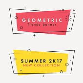 Set of trendy flat geometric vector banners.