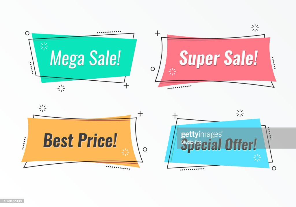 Set of trendy flat geometric vector banners : stock illustration