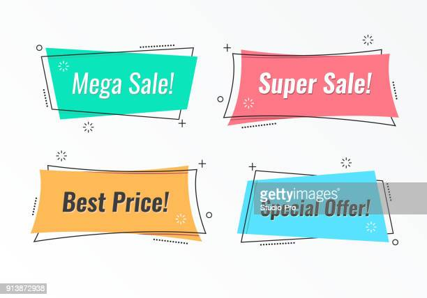 set of trendy flat geometric vector banners - banner sign stock illustrations